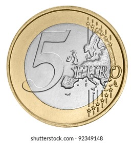 Five euro coin on white