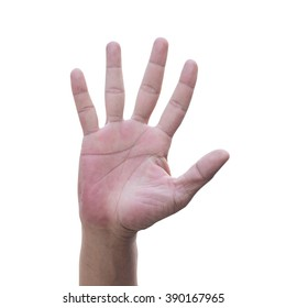 Five finger stretching out ,Sign ,Stop ,Human finger