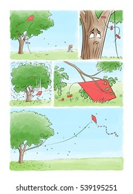 A five frame comic book story of a tree and a kite. A kite is stuck in the limbs of a tree.  The tree notices it and shakes it loose.  Then it picks it up and flies it. This makes the tree happy.