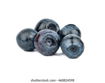 Five fresh and ripe blueberries on a white background