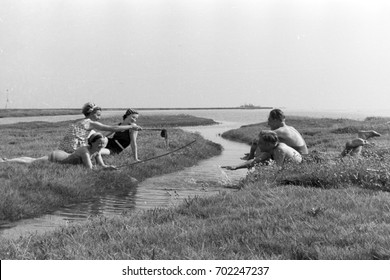 Five friends playing by water runoff from ocean