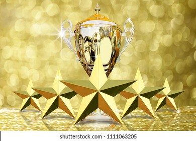 The Five golded star with Gold Trophy for the winner competition ranking level on abstract gold bokeh background