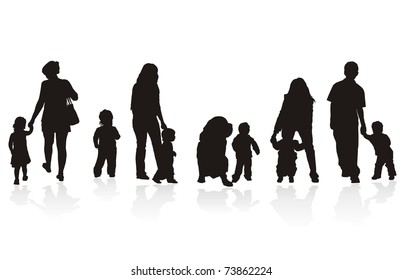 Five group of silhouette of little baby with parents