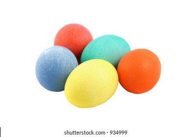 Five hand colored easter eggs isolated with clipping path.