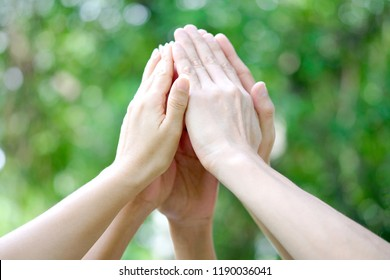 five hand up of people working assemble corporate meeting show symbol Join forces teamwork quality and effective personnel Concept organizational development in teamwork and business