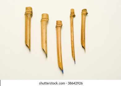 Five hand-made calligraphy pens,  made from bamboo by the artist
