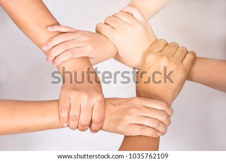 Five Hands Hold Together Like Pentagon Stock Photo Edit Now