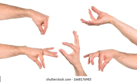 Five hands in various positions with the catch action. Horizontal composition.