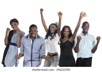 Five happy african people cheering, Studio Shot, Isolated