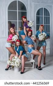 Five happy ladies
