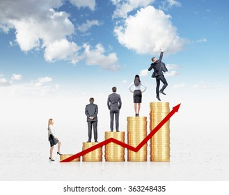 Five heaps of golden coins arranged as a bar chart and a red graph, four businessmen on them, businesswoman starting to assend. Blue sky at the background. Concept of career growth.
