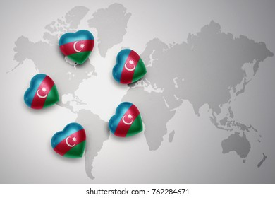 five hearts with national flag of azerbaijan on a world map background..concept.3D illustration
