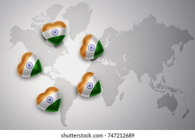 five hearts with national flag of india on a world map background. concept.3D illustration