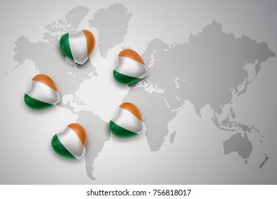 five hearts with national flag of ireland on a world map background.concept.3D illustration