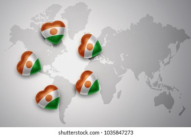 five hearts with national flag of niger on a world map background.concept.3D illustration