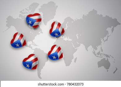 five hearts with national flag of puerto rico on a world map background..concept.3D illustration