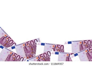 Five hundred dollar bills border, isolated on white.