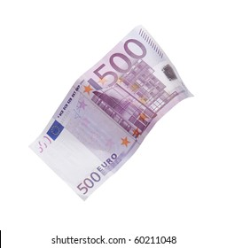 Five hundred euro banknote falling against white background
