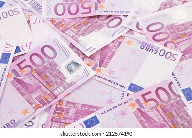 Five hundred euro banknotes. Macro on a Whole background.