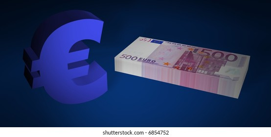 Five hundred EURO stack with EURO symbol on blue floor