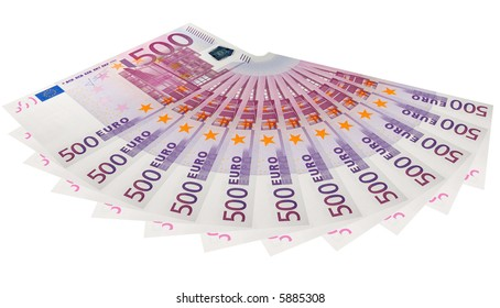 the five hundreds euro banknotes isolated on white background