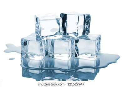 Five ice cubes with reflection isolated on white background