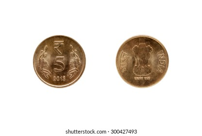 Five Indian Rupee coin isolated on white background