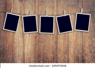Five instant photo on Wood Background and Texture vertical, Vintage toned.