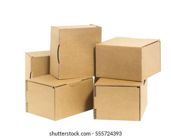 Five irregularly stacked small brown cardboard boxes isolated on white.
