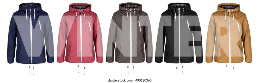 Five jackets with word Winter