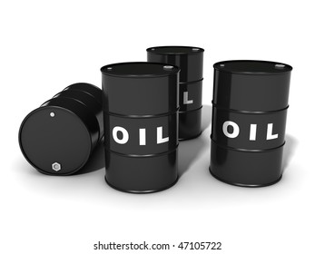 five labeled oil barrels, isolated on white background
