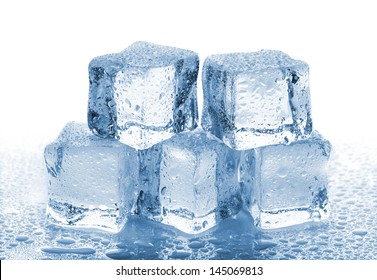 Five melted ice cubes with water drops on white background