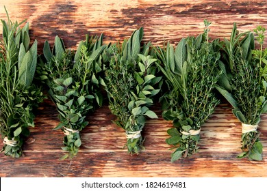 Five or More Bunches of Fresh Harvest Herbs From the Garden on Wooden Background. Bundles of Sage, Thyme, Oregano, and Rosemary
