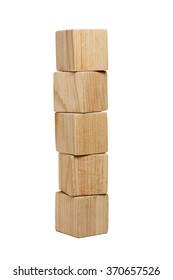 Five natural wooden bricks in tower isolated