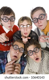 Five nerdy guys in funny glasses, looking and pointing at camera. They are looking scared. Front view, white background