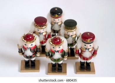 five nutcrackers in a pyramid