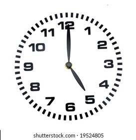 five o'clock on a Clock with a white face