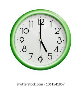 five o'clock, photo circle green wall clock, on white background, isolated