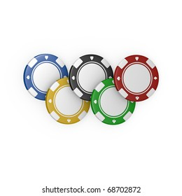 five olympic fiches on white background