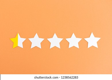 Five paper stars with low rating