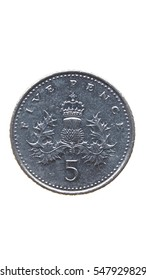 Five Pence coin isolated over a white background