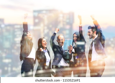 five people exult happiness for business and finance, concept of team, work and profit opportunities in marketing and finance