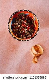 Five Peppercorn Mix - Pink peppercorns, Black peppercorns, White peppercorns, Green peppercorns and Allspice whole