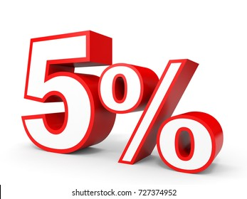 Five percent off. Discount 5 %. 3D illustration on white background.