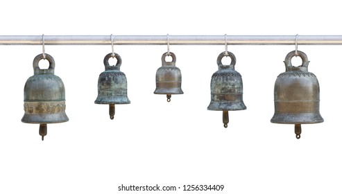five piece old bell isolated on white background with clipping path, thai style in temple