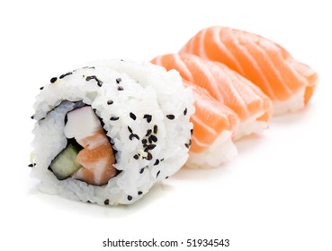 five pieces of sushi on white background