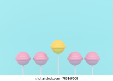 five pink lolipop on blue pastel background.sweet candy concept
