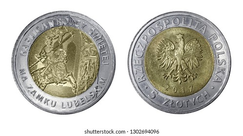 Five Polish zloty coin isolated on white