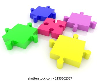 Five puzzle pieces in various colors on white.3d illustration