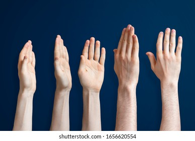 five raised human hands isolated on the colourful background as a concept of vote and agree